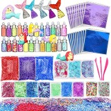 72PCS Schleim DIY Supplies Kits Meerjungfrau Slime Set für Kinder DIY Glitter Clay Toy Supplies Set Geschenke für Mädchen Spielzeug
